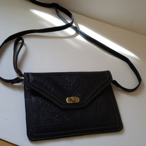 Navy tooled leather purse crossbody style